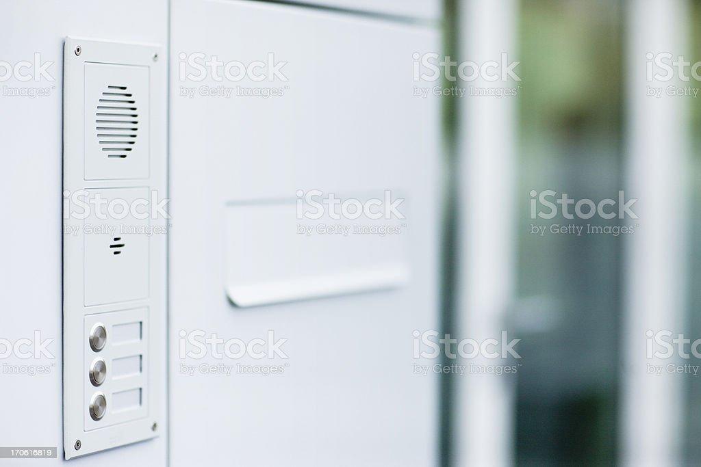 doorbell, mailbox and intercom - modern design, all white stock photo