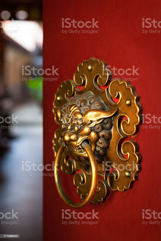Doorknob of the Buddhist temple royalty-free stock photo