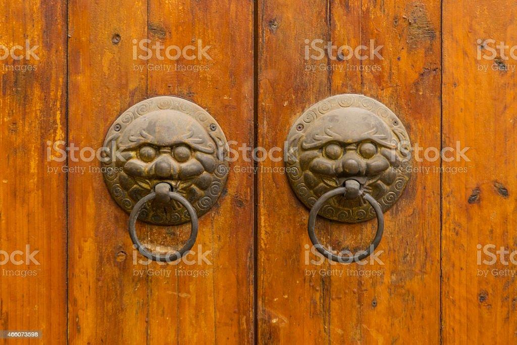 Doorknocker with head of lion stock photo