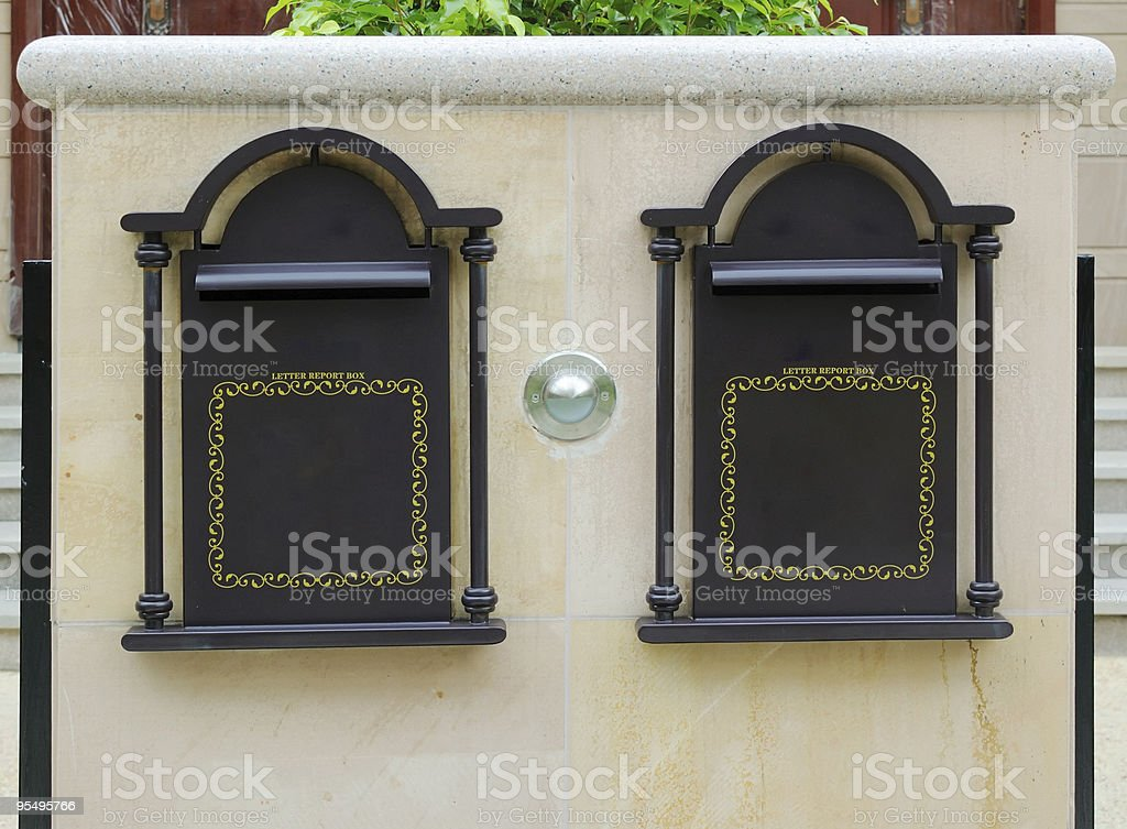 Doorplate and letter box royalty-free stock photo