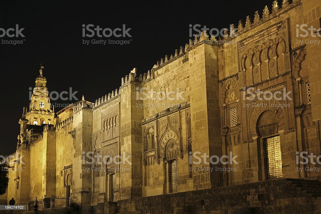 Doors and bell tower of the mosque in Cordoba stock photo