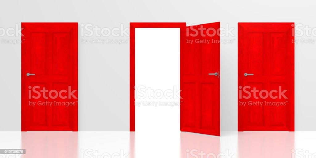 3D doors concept stock photo