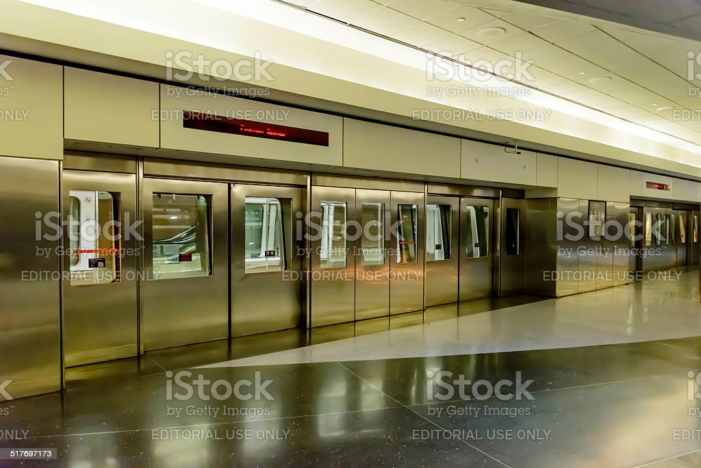 Doors for the terminal tram at DIA stock photo