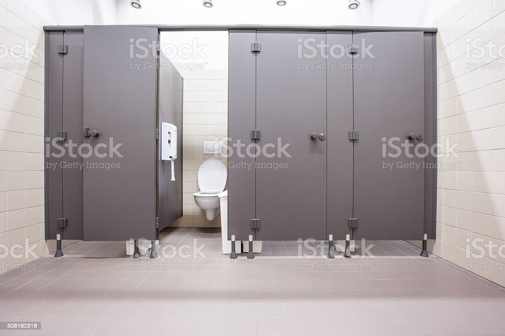 doors from toilets stock photo