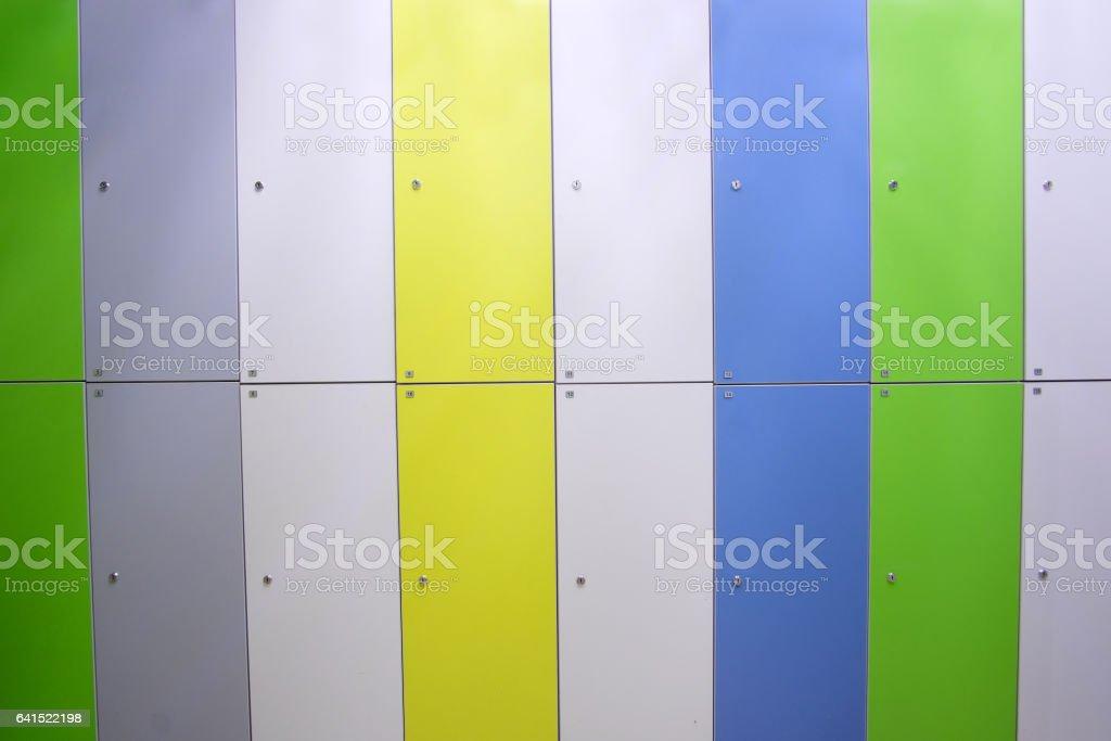 doors in a locker room in fitness club stock photo
