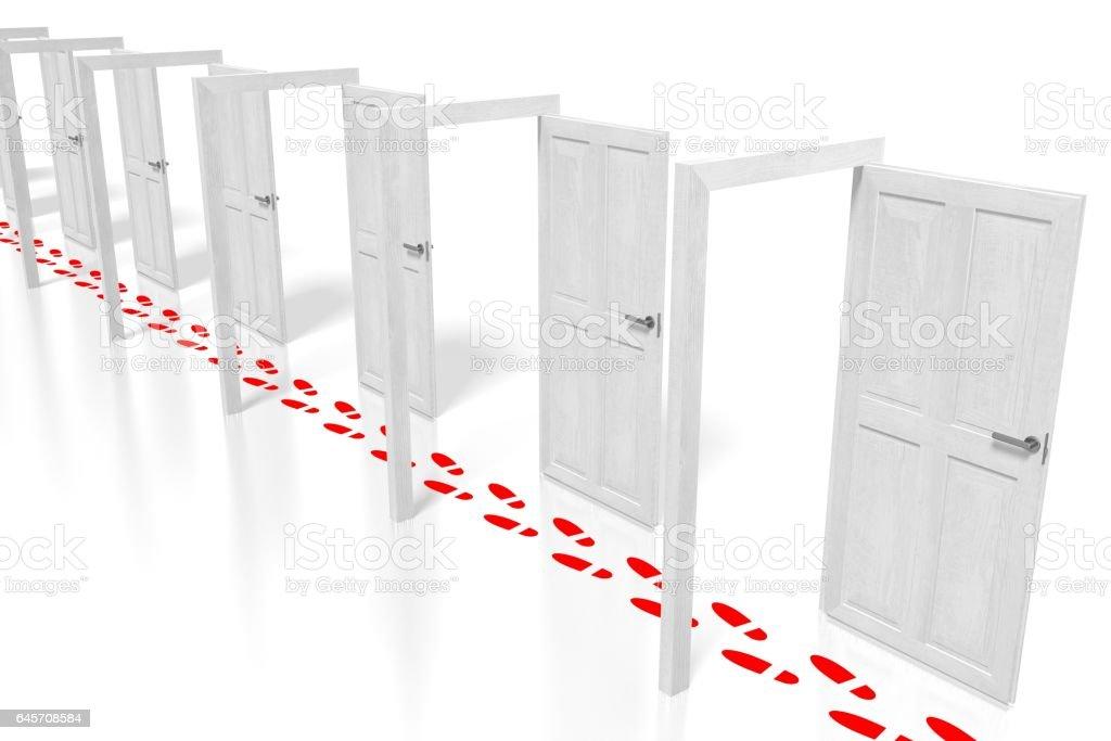3D doors in a row stock photo