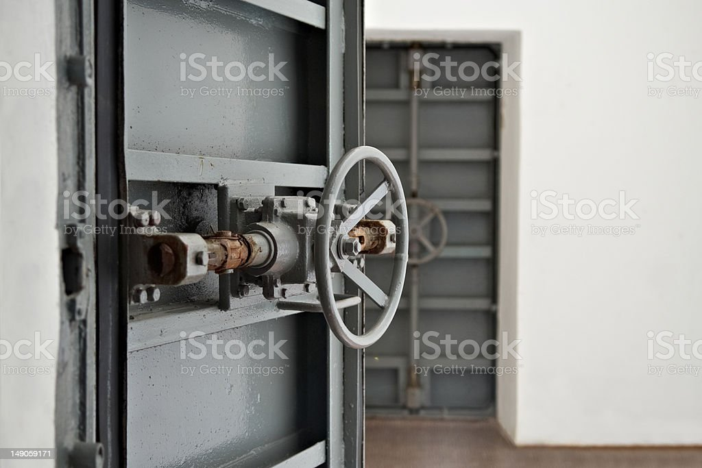 Doors in the protective shelter stock photo