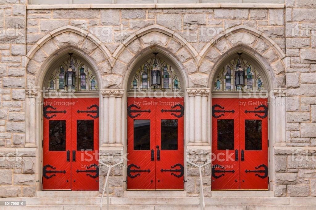 Doors of Saint Mark United Methodist Church, Atlanta, USA stock photo