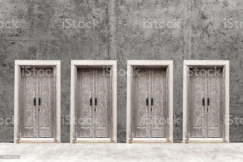 Doors on the wall stock photo