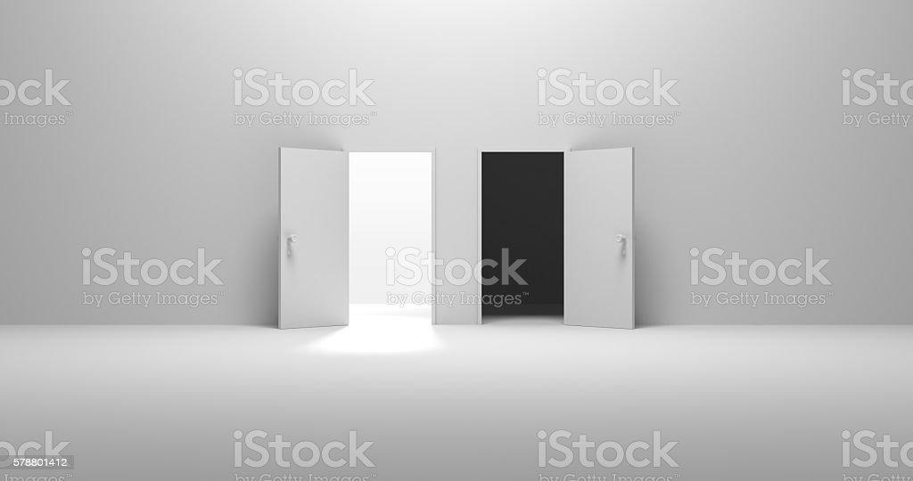 2 Doors Opened, Good or Bad stock photo