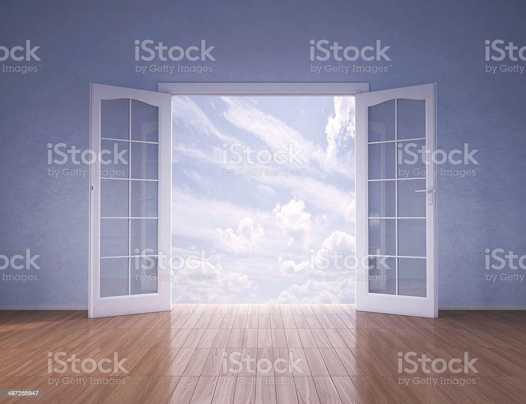 Doors opening to blue skies stock photo