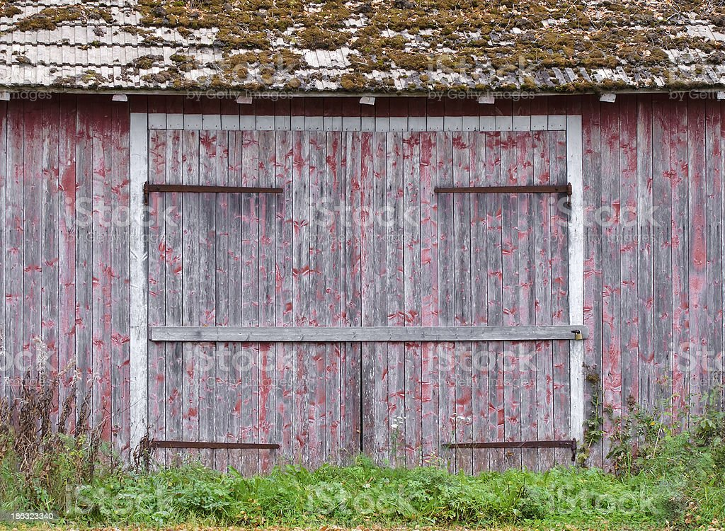 Doors to an old weathered barn royalty-free stock photo