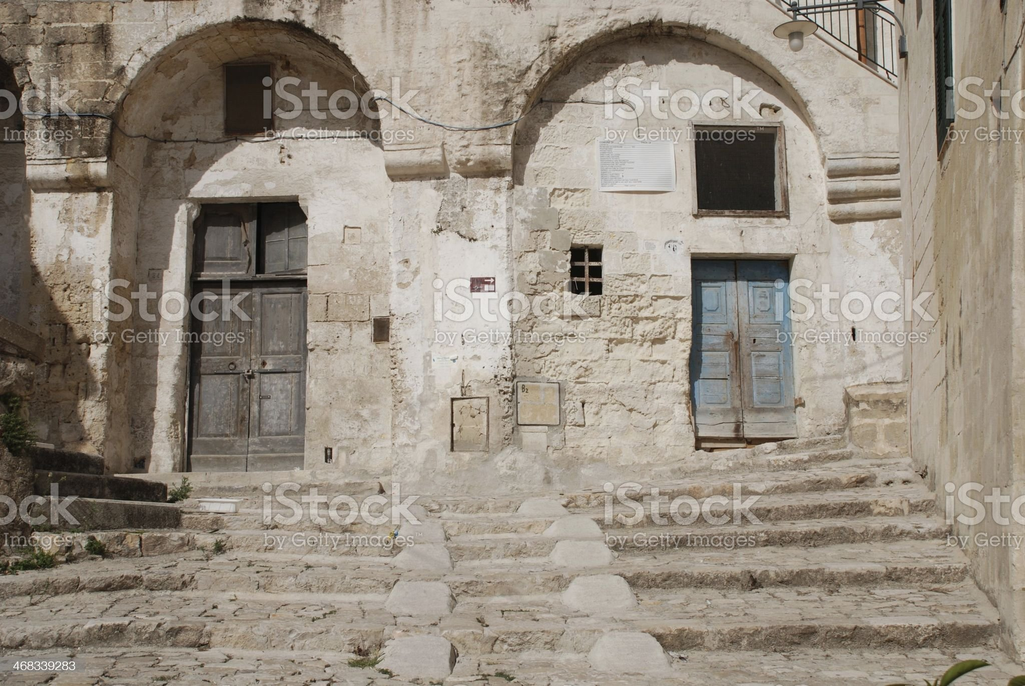 Doors with Steps in Barisano Sassi royalty-free stock photo