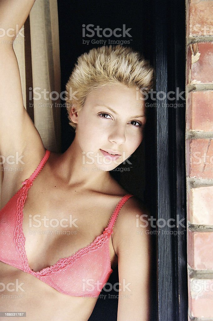Doorstep Lingerie Blond stock photo