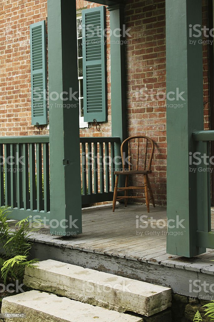 Doorstep, Porch at the Old house With Chair, Dayton, Ohio stock photo