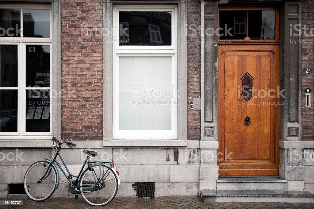Doorway and bicycle Maastricht, Netherlands royalty-free stock photo
