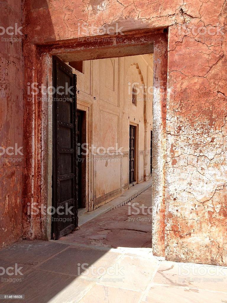 Doorway at Jaigarh Fort, Jaipur, Rajasthan stock photo