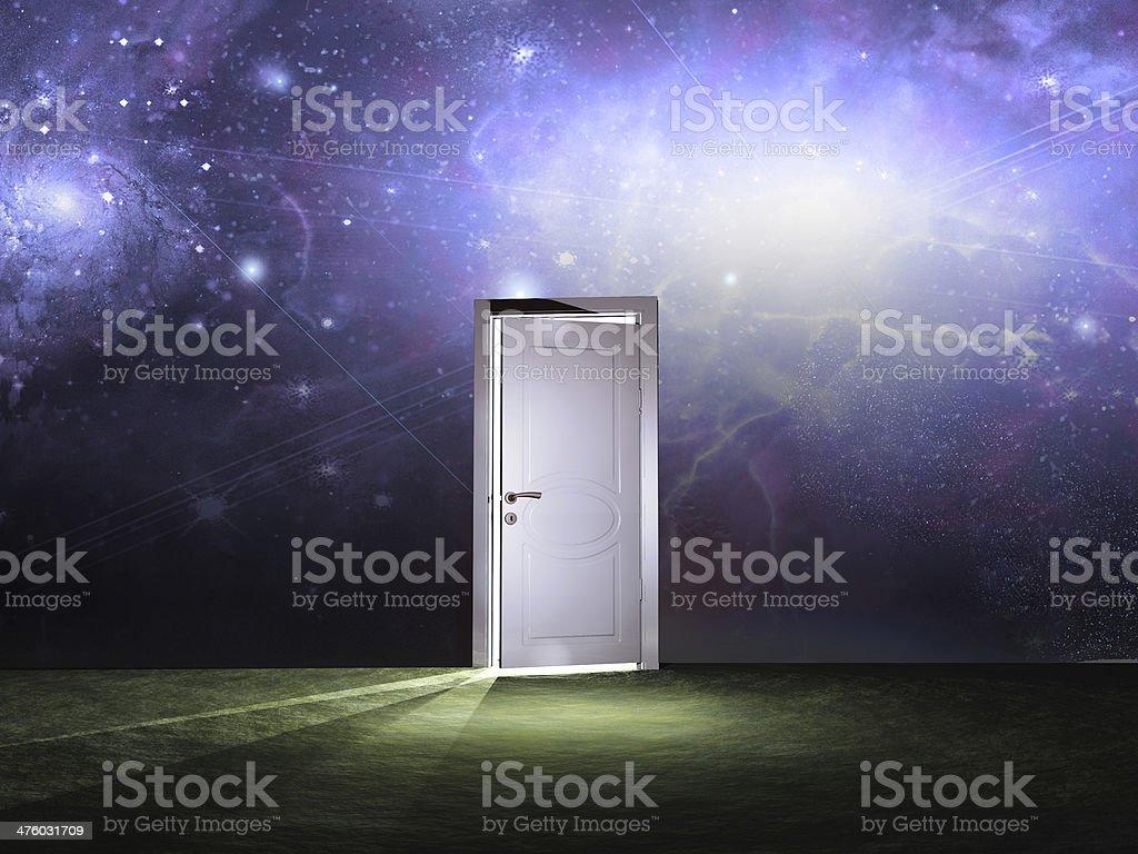 Doorway before cosmic sky stock photo