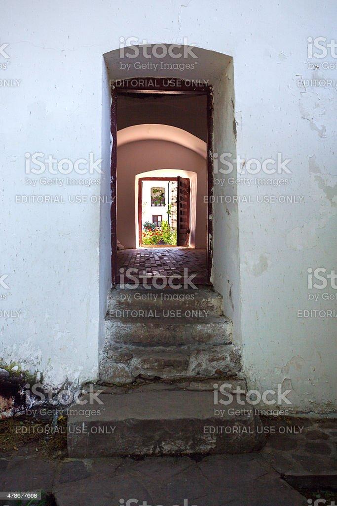 Doorway connecting the courtyards of  Cozia monastery stock photo