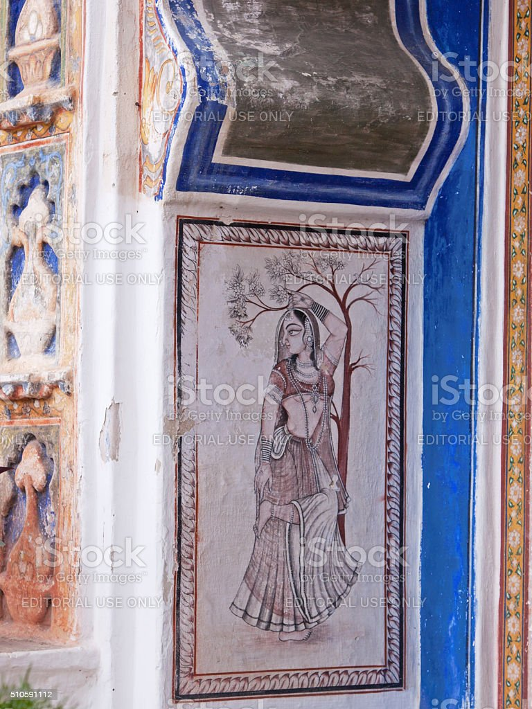Doorway decorated in accordance with the Indian miniature tradition, Rajasthan stock photo