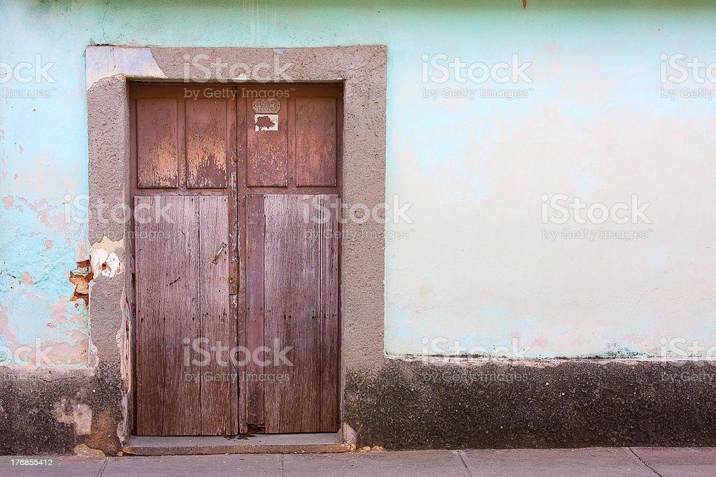 Doorway in a traditional street, Trinidad, Cuba royalty-free stock photo