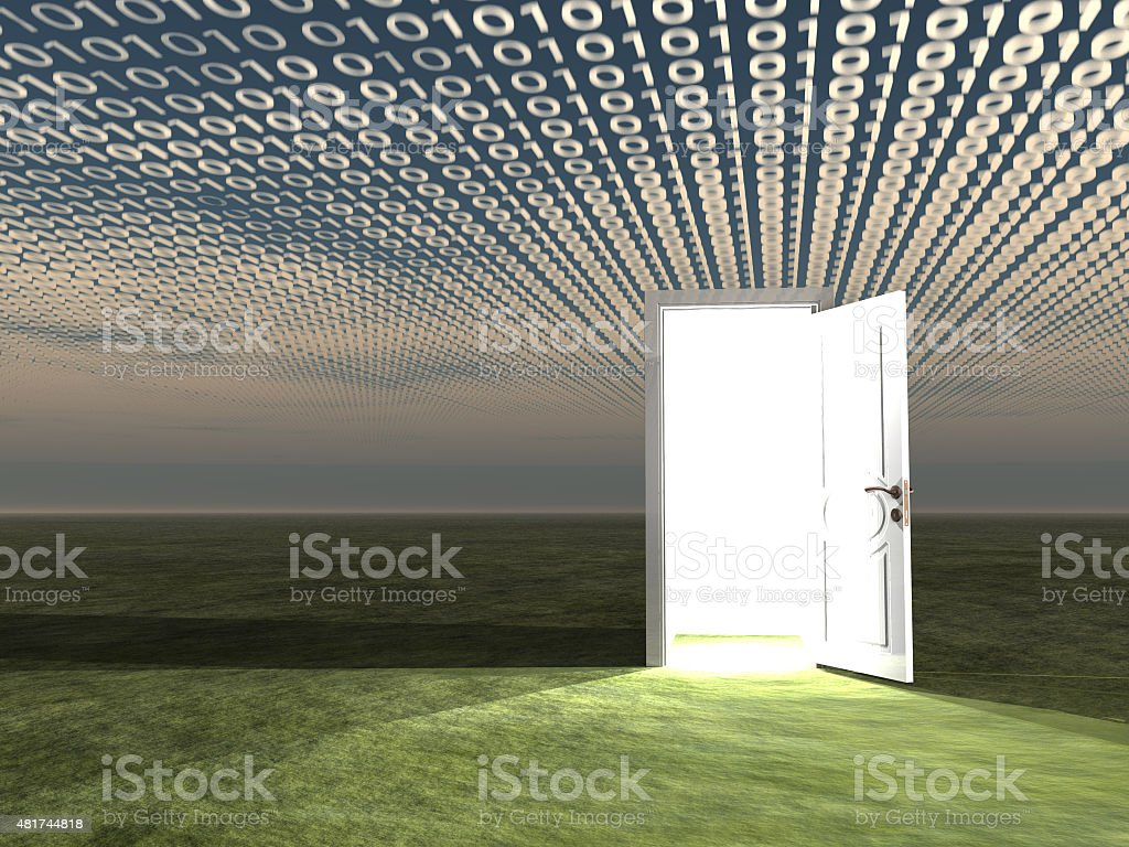 Doorway in landscape with binary streaming stock photo