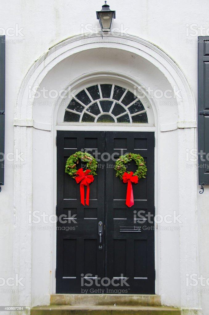 Doorway of Charleston Decorated for Christmas stock photo