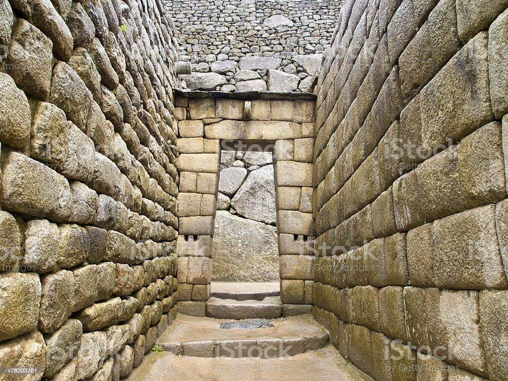 Doorway of Inca temple at Machu Picchu royalty-free stock photo