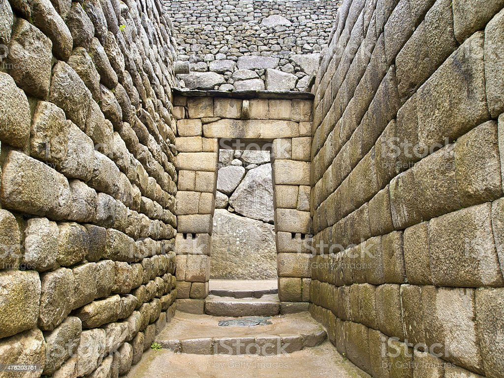 Doorway of Inca temple at Machu Picchu stock photo