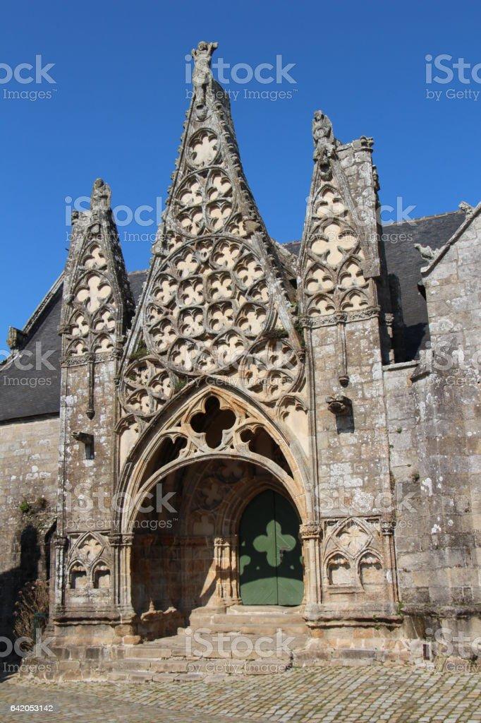 Doorway of Notre Dame de Roscudon in Pont-Croix stock photo