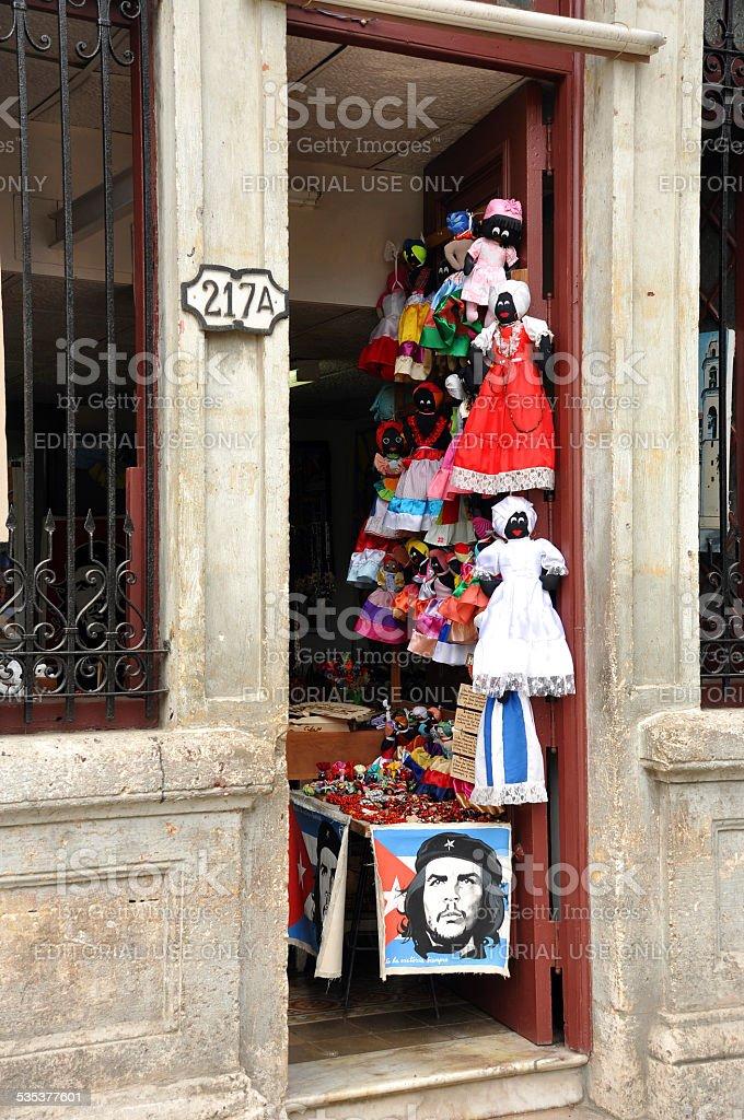 Doorway of shop in Havana stock photo