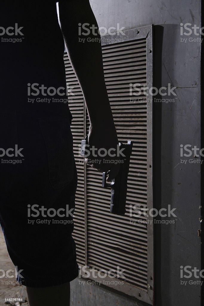 Doorway shooter 1 stock photo