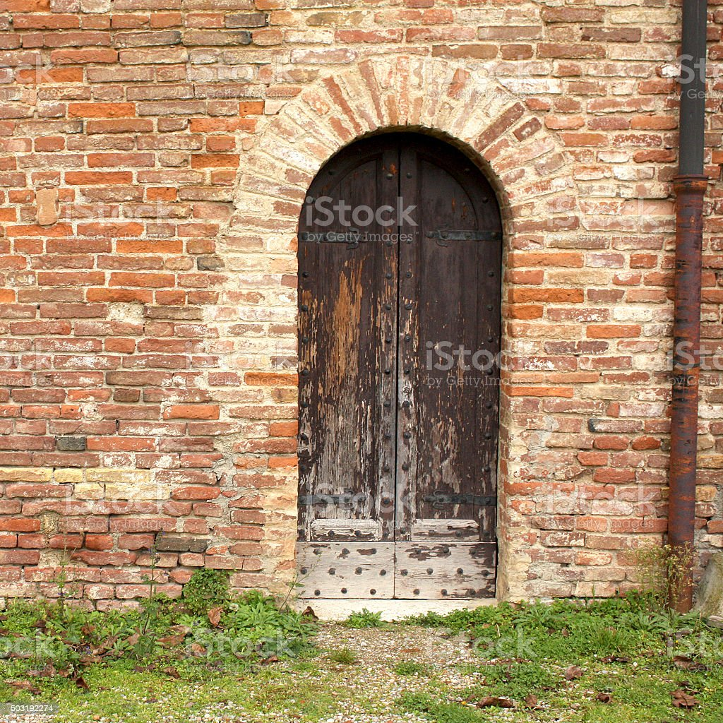 Doorway to an ancient building in Tuscany, Italy stock photo