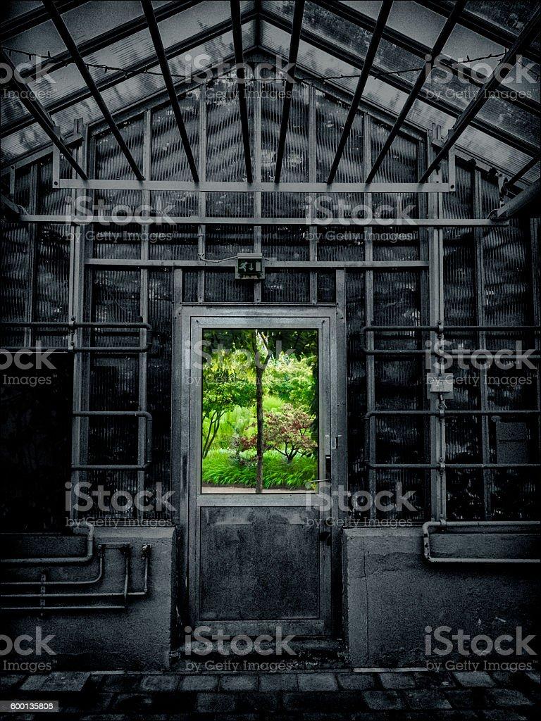 Doorway to green landscape stock photo