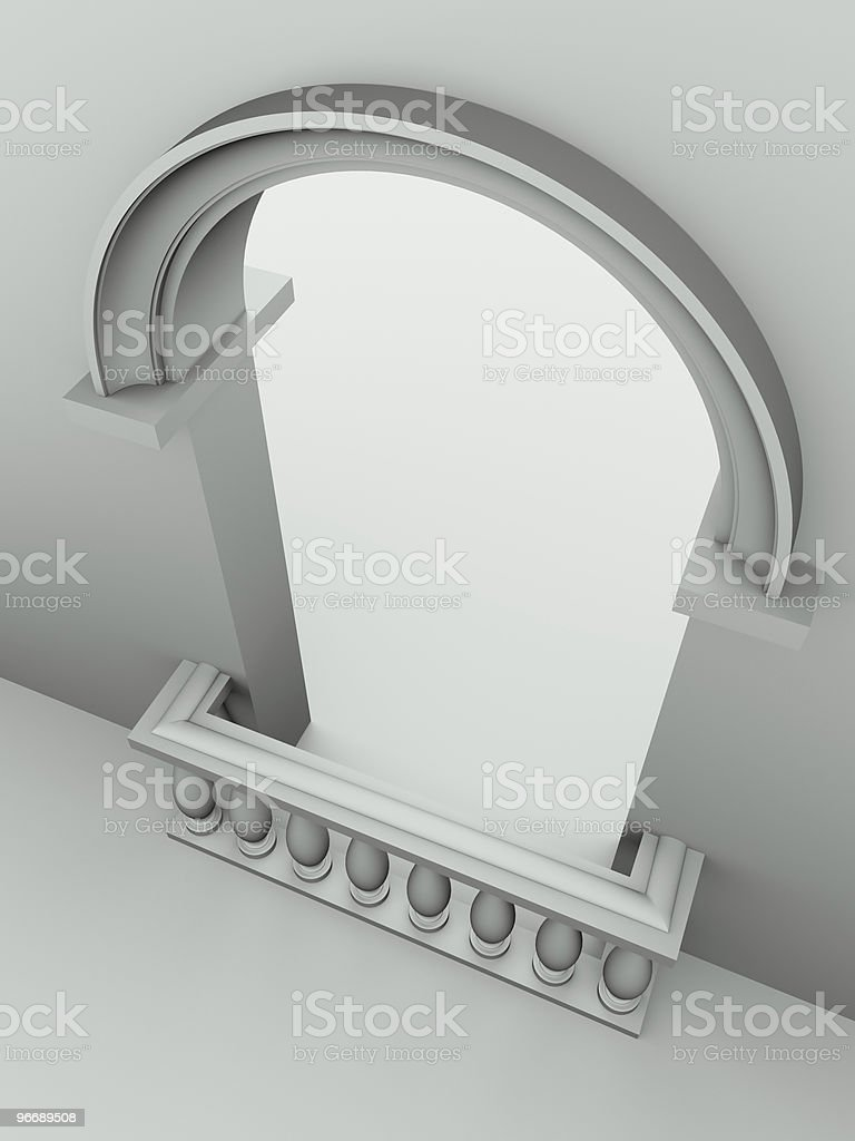 doorway with arch and balustrade royalty-free stock vector art