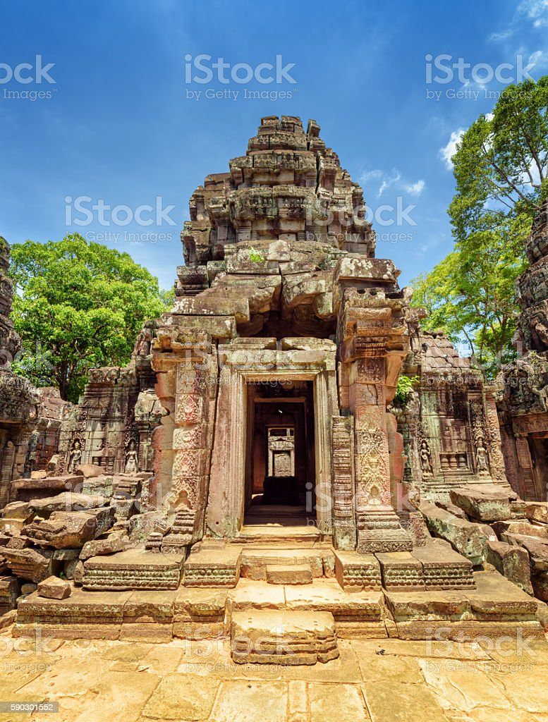 Doorway with carving of ancient Ta Som temple, Angkor, Cambodia stock photo