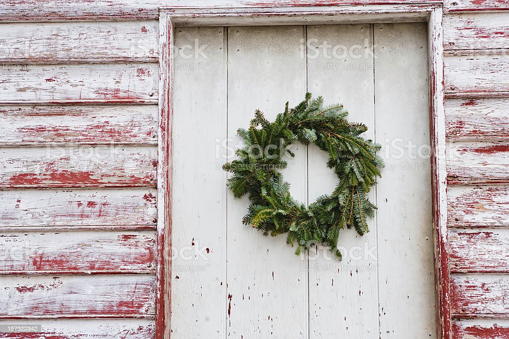 Doorway with Christmas wreath royalty-free stock photo
