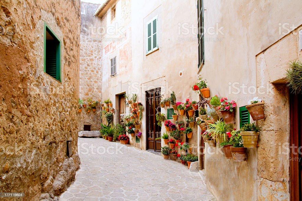 Doorways on a cobblestone path in Valldemossa, Majorca royalty-free stock photo