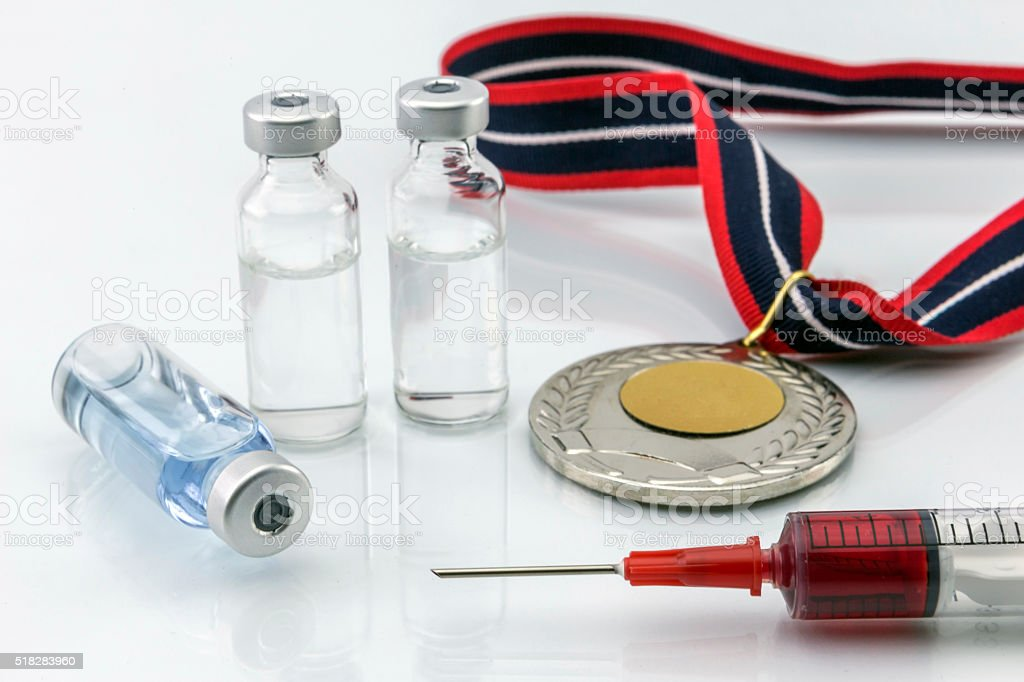 Doping in sport concept stock photo