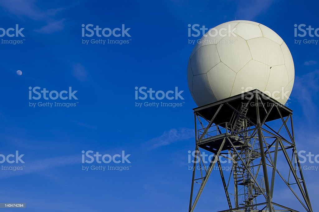 Doppler weather radar and moon stock photo