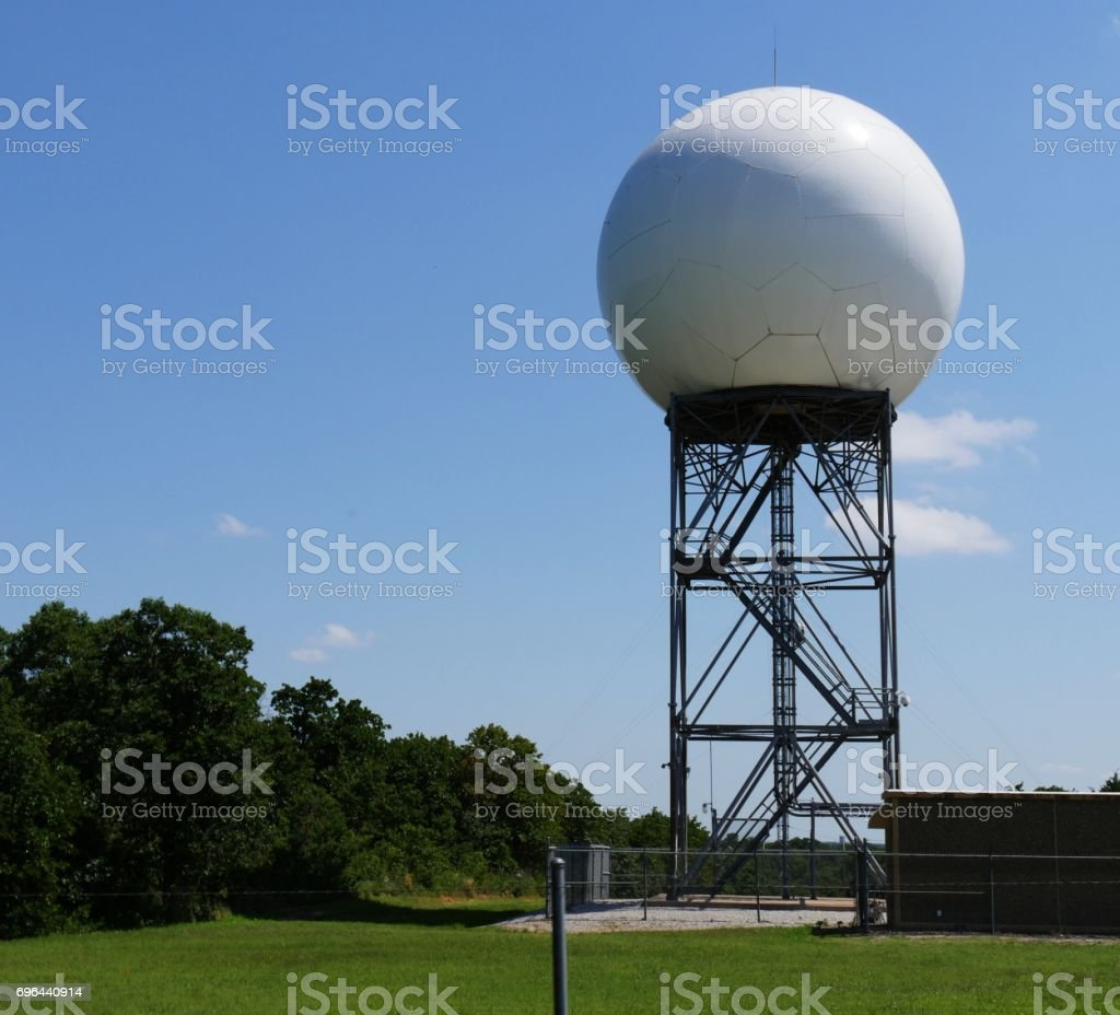 Doppler weather radar at a weather station stock photo
