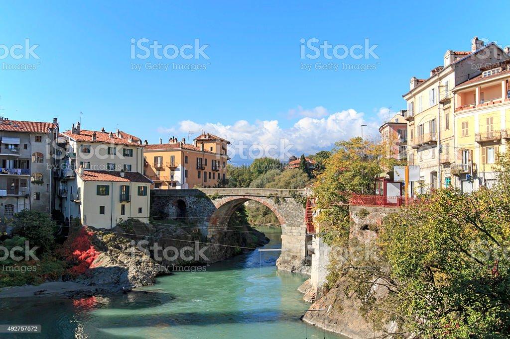 Dora Baltea River and Ivrea cityscape in Piedmont, Italy stock photo
