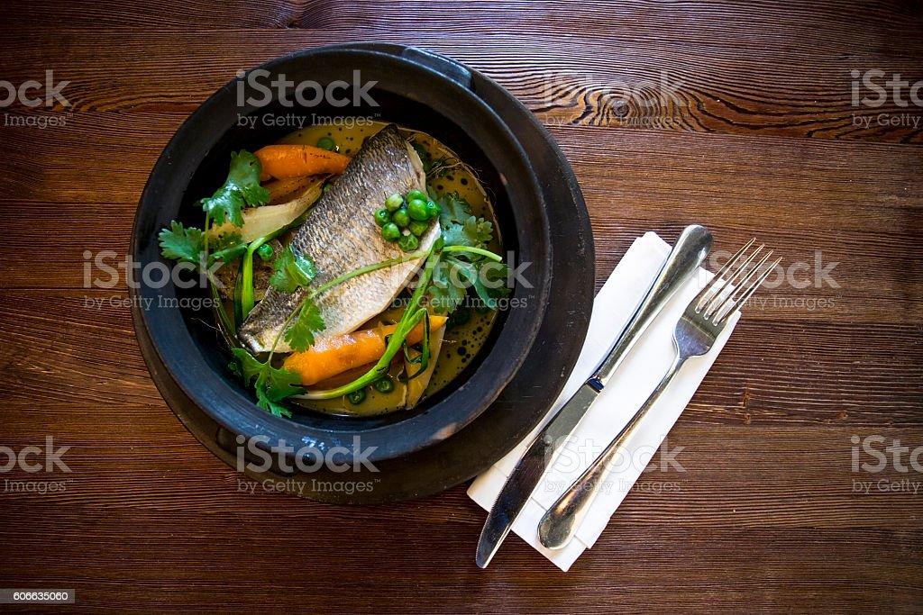Dorado with vegetables stock photo