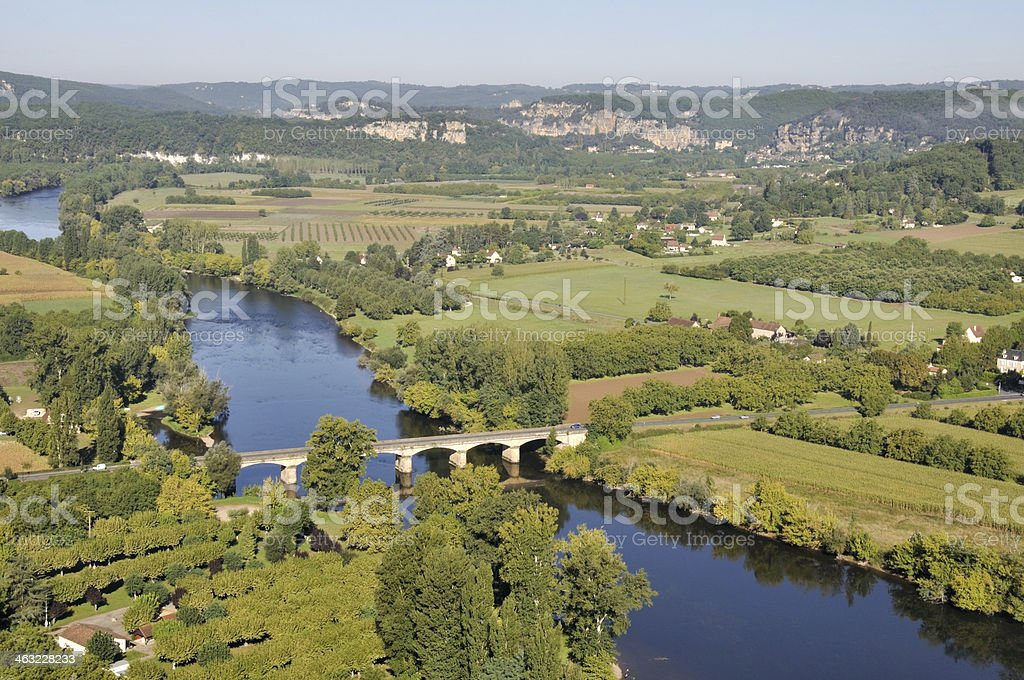 Dordogne river from the town of Domme, France stock photo