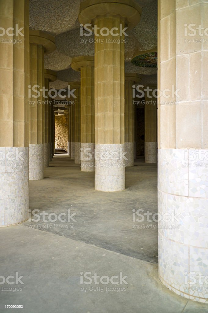 Doric Columns in Parc Guell stock photo