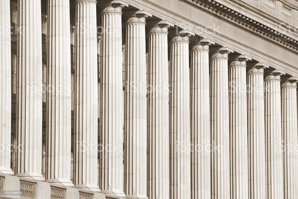 Doric Columns in Sepia royalty-free stock photo