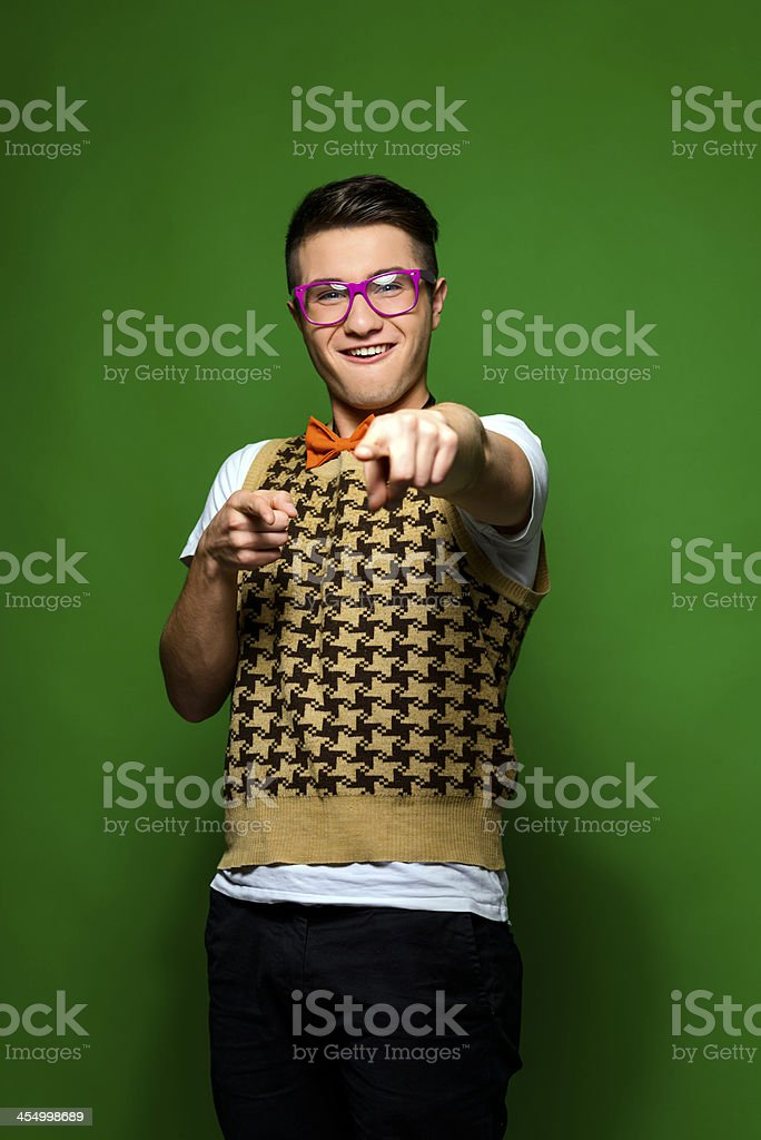 dork pointing royalty-free stock photo
