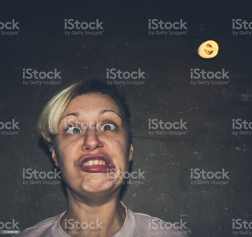 Dorky woman looking silly stock photo