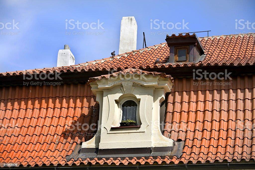 Dormer Windows, Tile Roof, Prague royalty-free stock photo