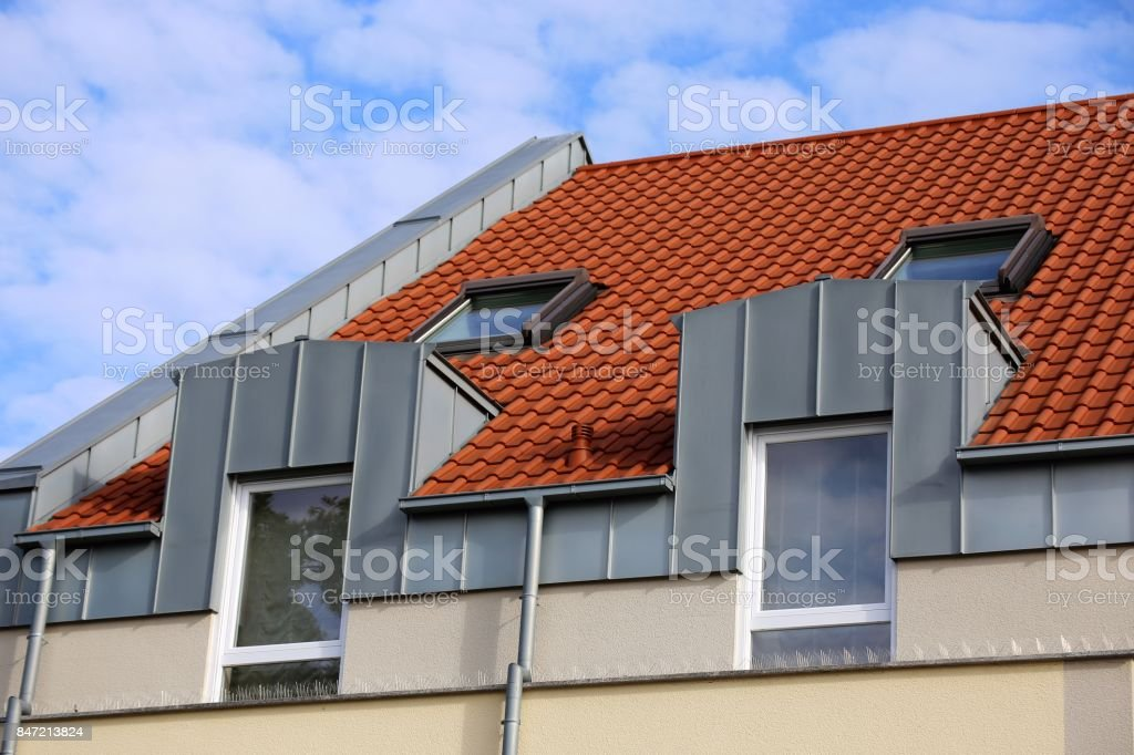 Dormer with stainless steel cladding stock photo